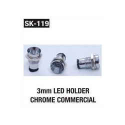 LED Holder Chrome Commercial 3 mm