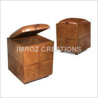 Modern Leather Poufs