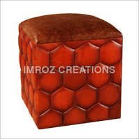 Leather Pouf Stool