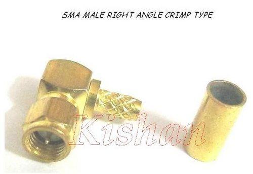SMA male right angle crimp type
