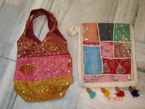 Sequined Cotton Canvas Hobo Bags