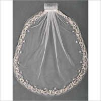Silver Thread Cord Embroidery Veil