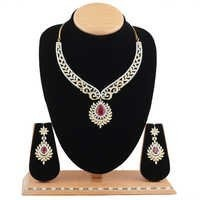 Necklace - American Diamonds with Ruby Stone