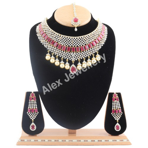 American Diamond Necklace Set with Ruby Stone