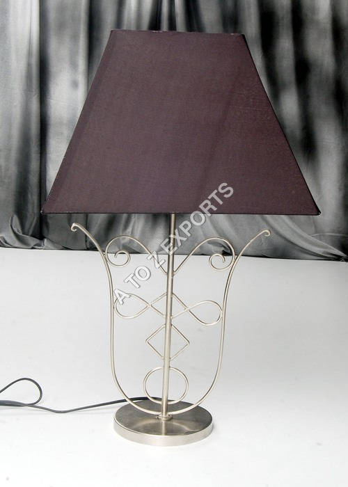 Designer Metal Lamp With Pewter Finish