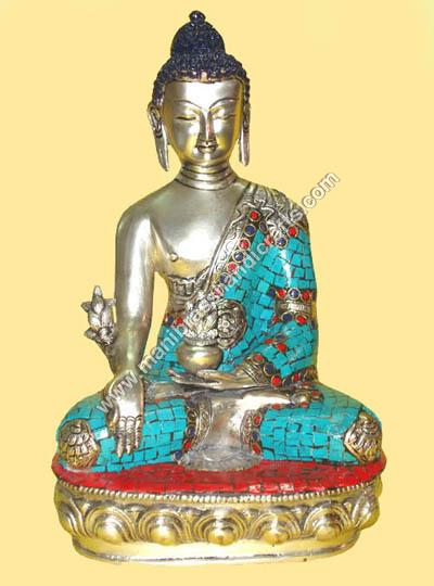 Buddha Sitting Medicine Silver W/ Stone