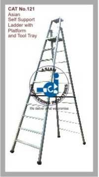 Self Support Ladder with Platform and Tool Tray