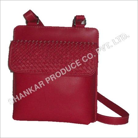 Leather Ladies Raw Edge Hand Woven Body Bag