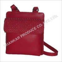 Leather Ladies Raw Edge Hand Woven Body Bag