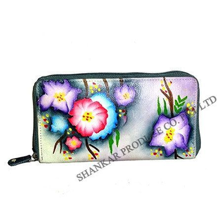 Leather Hand Painted Ladies Purse  Blue Floral