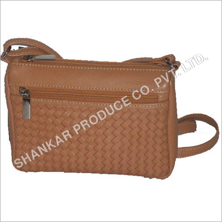 Leather Ladies Cross Weave Small Hand Bag