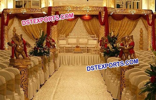 Indian Wedding Golden Carved Mandap