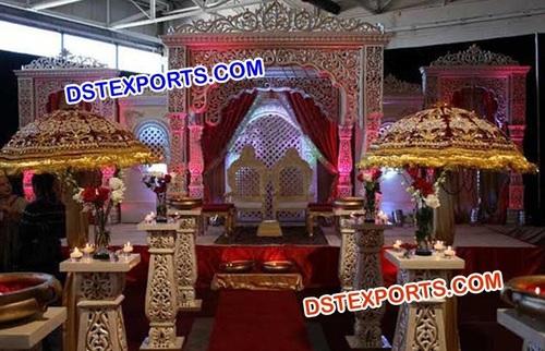 Wedding Golden Carved Mandap Pillars