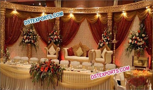 Muslim Wedding Golden Carved Stage