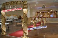 Golden Fiber Crystal Mandap With Welcome Gate