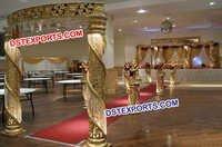 Golden Fiber Crystal Mandap With Welcome Gate