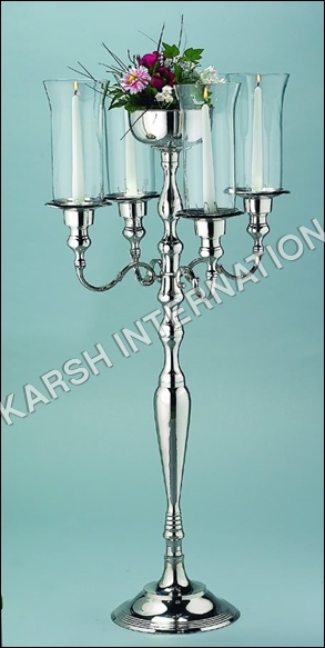 Aluminium Candelabra with Floral Bowl