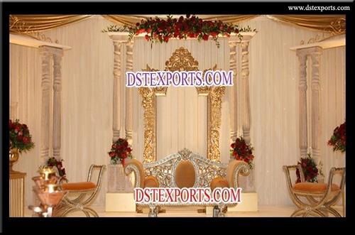 Latest Asian Wedding Wooden Pillar Stage Set