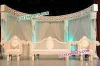 Asian Wedding White Fiber Carved Pillar Stage