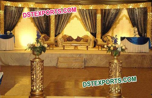 Muslim Wedding Golden Carved Stage Set