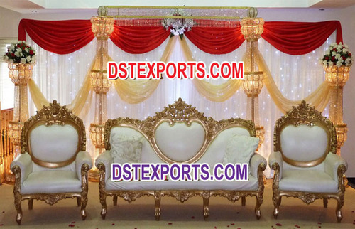 Asian Wedding Crystal Gold Stage