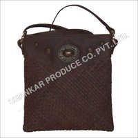Leather Raw Edge Woven Body Bag