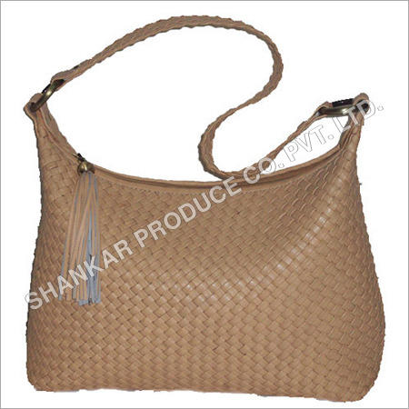 Leather Cross Weaved Handbag