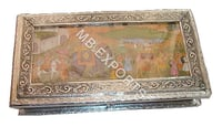 white metal handcrafted metal box