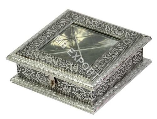 white metal square shape box