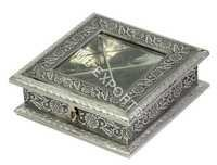 white metal square shape box