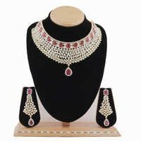 A.D.Designer Necklace Set with Ruby Stone
