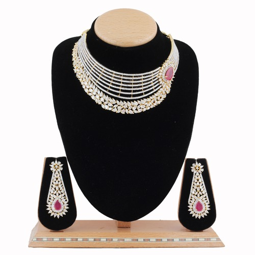 A.D.Necklace Set With Ruby Stone