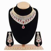 A.D.Necklace Set with Rhodolite Stone