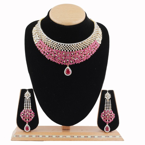 A.D.Designer Necklace Set with Ruby Stone.