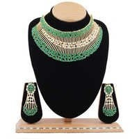 A.D.Designer Necklace Set with Emerald Stone.