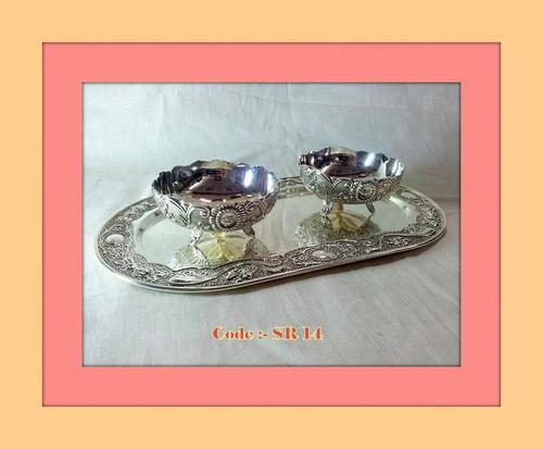 Tray withPair of Round Bowls with legs,Oxidised