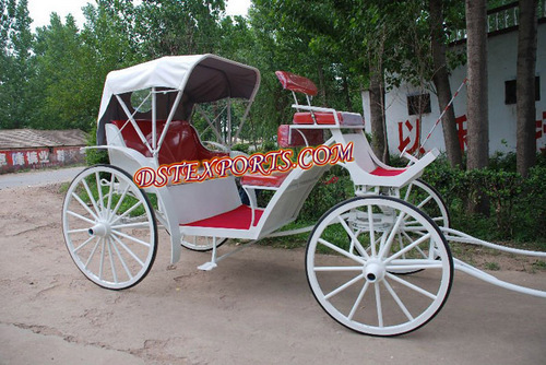 White Victoria Carriage With Red Seatings