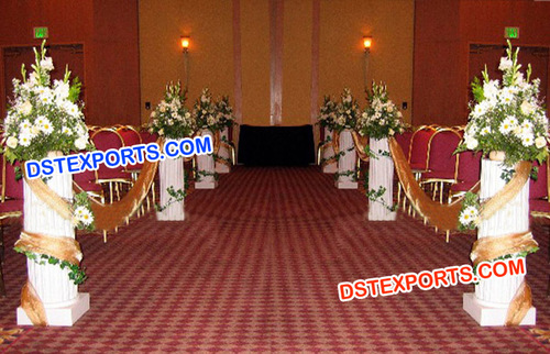 Wedding Small White Aisleway Pillars