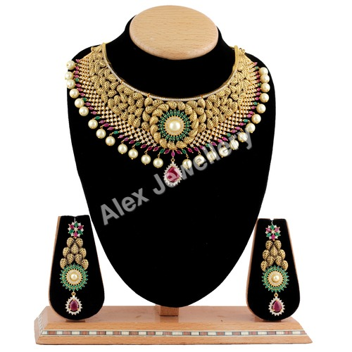 Designer A.D.Necklace Set studded with Color Stone