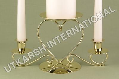 Triple heart golden candle holder