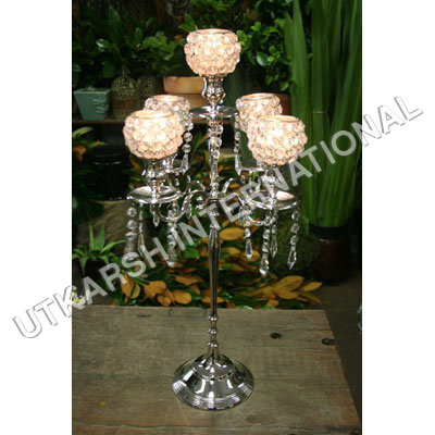 5-Light Crystal Votive Candelabra