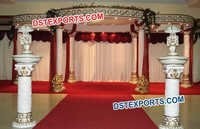 Indian Wedding White Gold Mandap