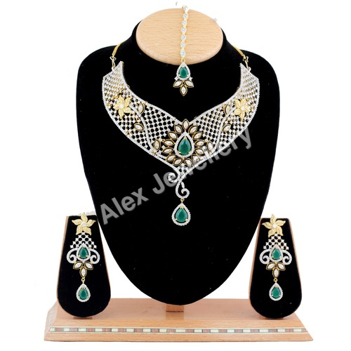 A.D.Necklace Set with Green Stone.
