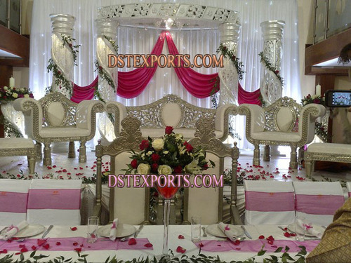 WEDDING RECEPTION SILVER CRYSTAL STAGE SET