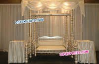 Wedding Pearl Gold Wooden Decor Jhula