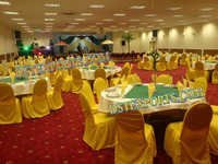 BANQUET HALL GOLD LYCRA CHAIR COVERS