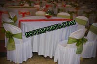 BANQUETHALL CHAIR COVERS WITH MEHANDI SHASHS