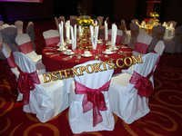 WEDDIN RED TISSUE SASHAS WITH CHAIR COVERS