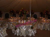 WEDDING SILVER CHAIR COVERS WITH TIE BACK