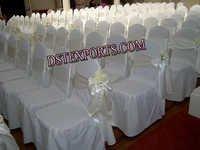 WEDDING WHITE CHAIR COVER WITH SATIN SASHAS